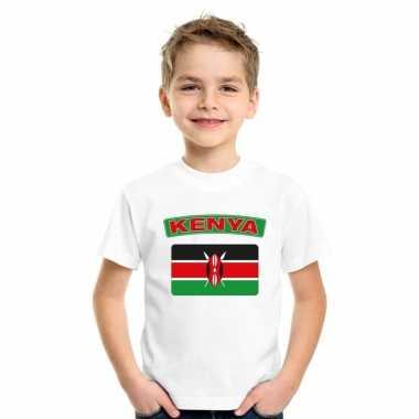 T shirt wit kenia vlag wit jongens meisjes