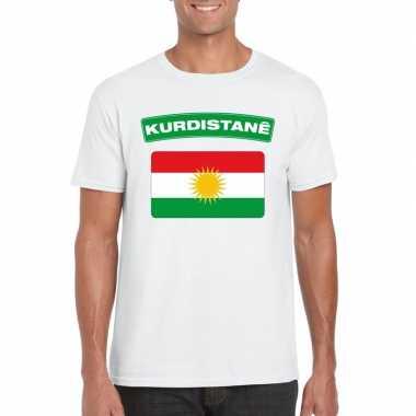 T shirt wit koerdistan vlag wit heren