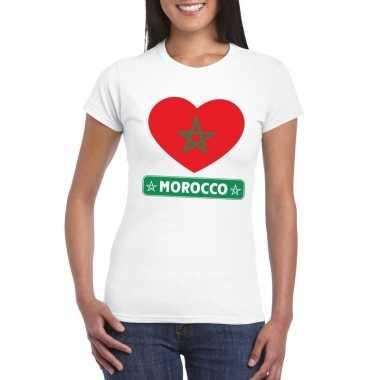 T shirt wit marokko vlag hart wit dames
