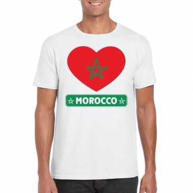 T shirt wit marokko vlag hart wit heren