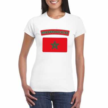 T shirt wit marokko vlag wit dames