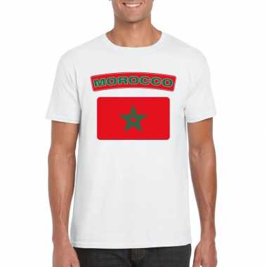 T shirt wit marokko vlag wit heren
