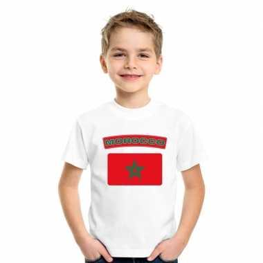 T shirt wit marokko vlag wit jongens meisjes