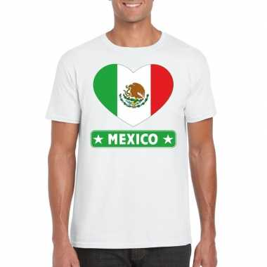 T shirt wit mexico vlag hart wit heren