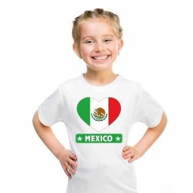 T shirt wit mexico vlag hart wit kind