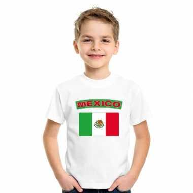 T shirt wit mexico vlag wit jongens meisjes