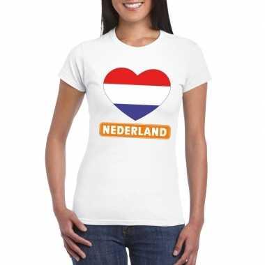 T shirt wit nederland vlag hart wit dames