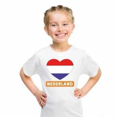 T shirt wit nederland vlag hart wit kind