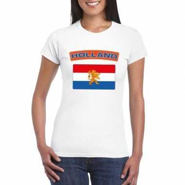 T shirt wit nederland vlag wit dames