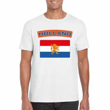 T shirt wit nederland vlag wit heren