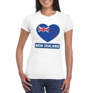 T shirt wit nieuw zeeland vlag hart wit dames