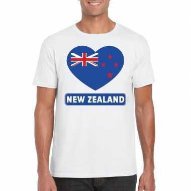T shirt wit nieuw zeeland vlag hart wit heren