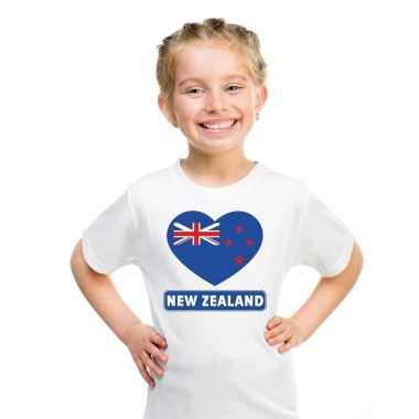 T shirt wit nieuw zeeland vlag hart wit kind
