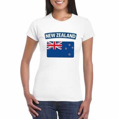 T shirt wit nieuw zeeland vlag wit dames
