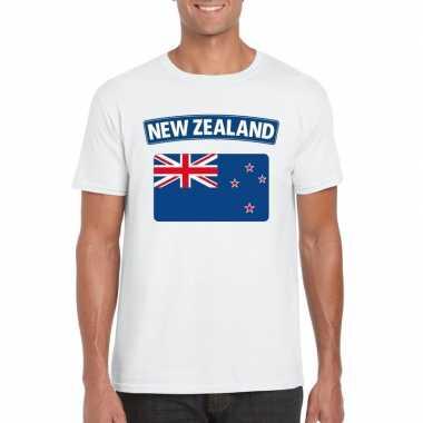 T shirt wit nieuw zeeland vlag wit heren