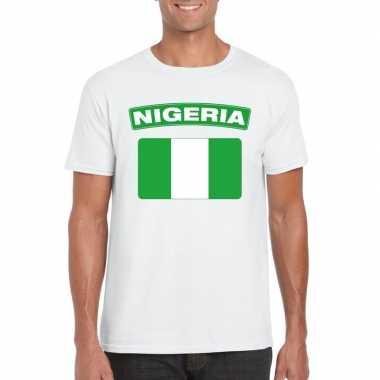 T shirt wit nigeria vlag wit heren