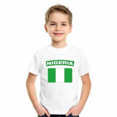 T shirt wit nigeria vlag wit jongens meisjes