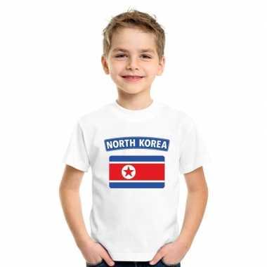 T shirt wit noord korea vlag wit jongens meisjes