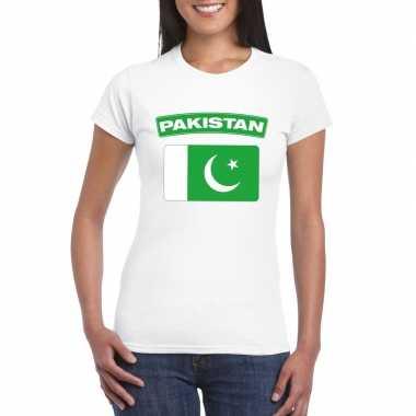 T shirt wit pakistan vlag wit dames