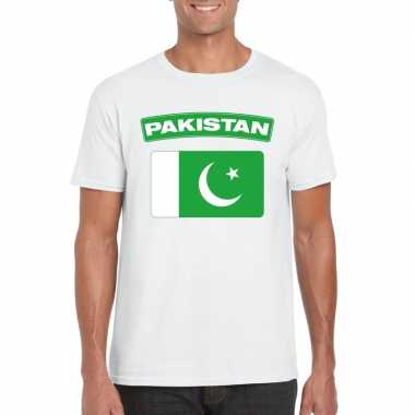 T shirt wit pakistan vlag wit heren