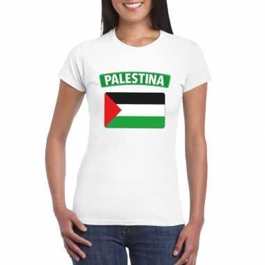 T shirt wit palestina vlag wit dames