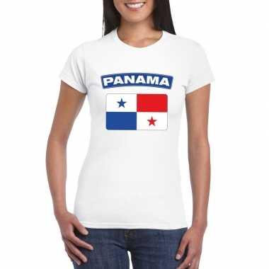 T shirt wit panama vlag wit dames