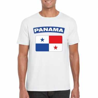 T shirt wit panama vlag wit heren