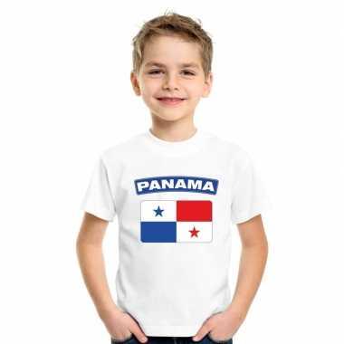 T shirt wit panama vlag wit jongens meisjes