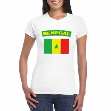 T shirt wit senegal vlag wit dames