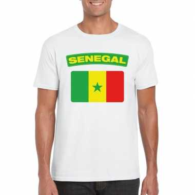 T shirt wit senegal vlag wit heren