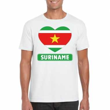 T shirt wit suriname vlag hart wit heren