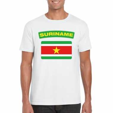T shirt wit suriname vlag wit heren
