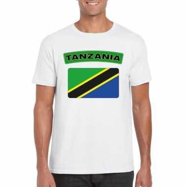 T shirt wit tanzania vlag wit heren