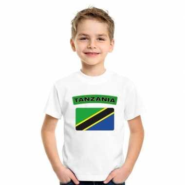 T shirt wit tanzania vlag wit jongens meisjes
