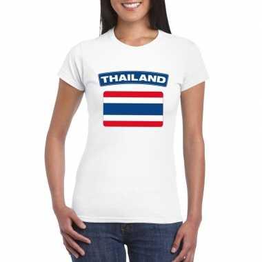 T shirt wit thailand vlag wit dames