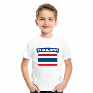 T shirt wit thailand vlag wit jongens meisjes