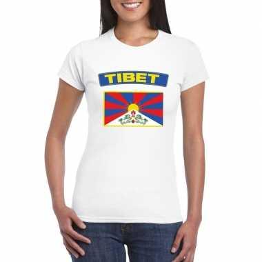T shirt wit tibet vlag wit dames