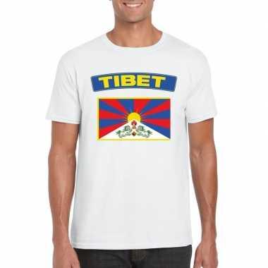 T shirt wit tibet vlag wit heren