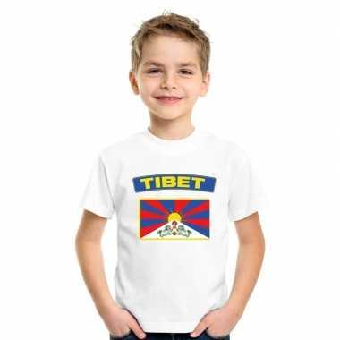T shirt wit tibet vlag wit jongens meisjes