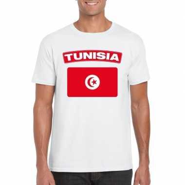 T shirt wit tunesie vlag wit heren