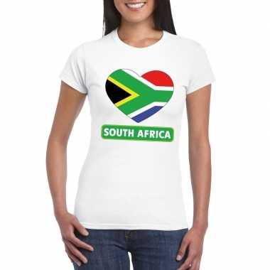 T shirt wit zuid afrika vlag hart wit dames