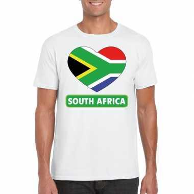 T shirt wit zuid afrika vlag hart wit heren