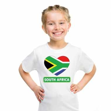T shirt wit zuid afrika vlag hart wit kind