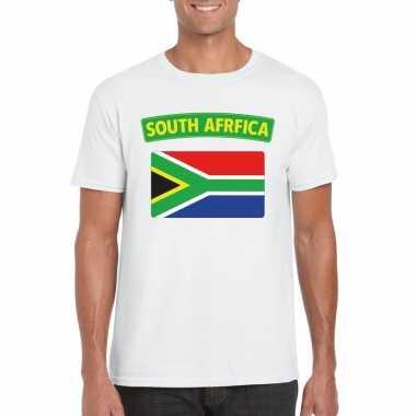 T shirt wit zuid afrika vlag wit heren