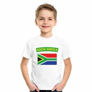 T shirt wit zuid afrika vlag wit jongens meisjes