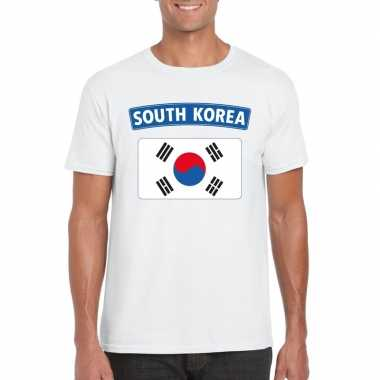 T shirt wit zuid korea vlag wit heren