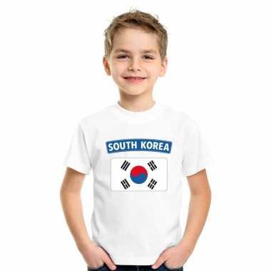 T shirt wit zuid korea vlag wit jongens meisjes