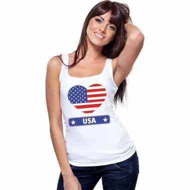 Tanktop wit amerika vlag hart wit dames