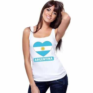 Tanktop wit argentinie vlag hart wit dames