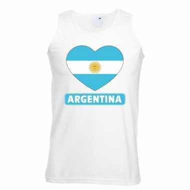 Tanktop wit argentinie vlag hart wit heren